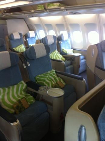 Angled-flat seats