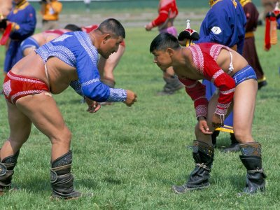 Mongolian wrestlers in action